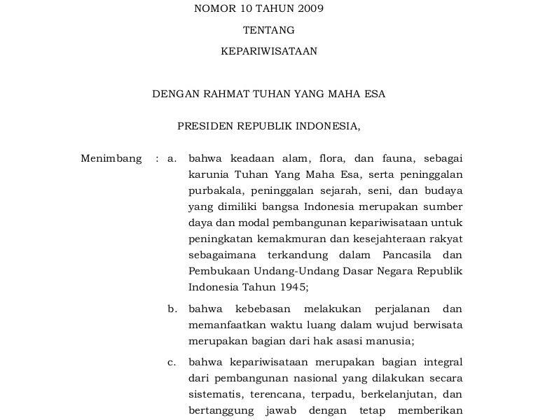 Penjelasan UU No-10 Th.2009 Kepariwisataan